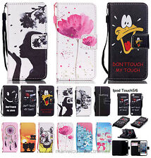 For iPod iTouch 5 6th Gen Print Cover Flip PU Leather Wallet Card Slot TPU Case