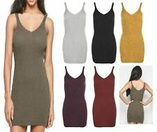 Womens Ladies SLEEVELESS RIBBED V NECK Bodycon Mini TUNIC DRESS Long Vest lot 84