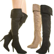 Women Slouchy Over The Knee Thigh High Stiletto Heel Boot Fold Over Cuff Elastic