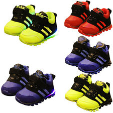 Kids Baby Boys Girls Flashing/Ordinar Genuine Leather Sneakers Trainers Shoes