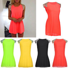 Sexy Womens Ladies Summer Chiffon Evening Party Cocktail Strapless Mini Dress GN