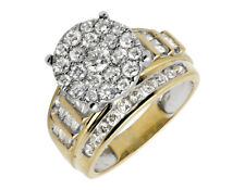 10K Yellow Gold Flower Round and Baguette Diamond Engagement Ring 2.0ct.