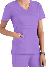 Dickies Medical Scrubs Women's Gen Flex Lilac Mock Wrap Top Size Large NWT