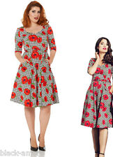 NEW HOUNDSTOOTH CHECK FLORAL POPPY FLARE RETRO FLARED DRESS 50'S VINTAGE PIN UP