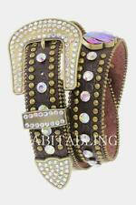 Brown Western Cowgirl LEATHER Belt Volcano Concho Crystal BLING Rhinestone S M L
