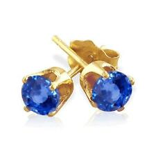 Blue Sapphire Stud Earrings 14K Gold