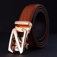 Fashional New Automatic Buckle Mens Waistband Genuine Leather Belts Waist Strap