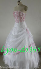 New Stock White/Pink Evening Wedding Bridesmaids Dress Size 6 8 10 12 14 16