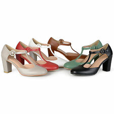 Brinley Co. Womens T-strap Chunky Heel Round Toe Classic Matte Pumps