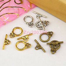 25Sets Tibetan Silver,Antiqued Gold,Bronze Leaf Connector Toggle Clasps M1392