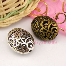 6Pcs Tibetan Silver,Antiqued,Bronze Hollow Filigree Oval Spacer Beads M1375