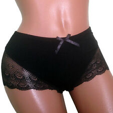 Ladies Black Lace Bamboo French Knickers Panties Briefs One Size *UK Seller*