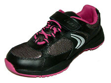 Clarks ALERT JUMP Girls Black Pink Leather Combi Trainers 10 - 1 F & G Widths
