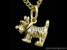 Scottish Terrier Dog Pendant Necklace 14k Gold