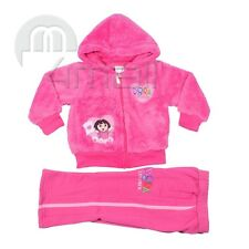 Kids Dora The Explorer Girls Furry Fleecy Jumper Tracksuit Winter Set Outfit Sz