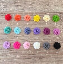 12/24 Pcs ~ 20mm Resin Rose Flower Charms Flatback Cabochon Jewelry Beads Crafts