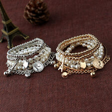Womens Jewelry Gold Metal Pearl Charm Bangle Multilayer Pendant Bracelet New M