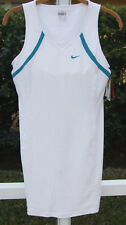 NIKE FIT DRY DRI-FIT WHITE TENNIS BUILT IN BRA POLYESTER SPANDEX DRESS S NEW