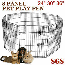 "24""/30""36"" 8 Panels Exercise Playpen Enclosure Dog Puppy Rabbit Cage Fence Run"