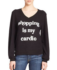 NWT Wildfox Couture Shopping Is My Cardio Pullover Top Sweatshirt Jet Black XS