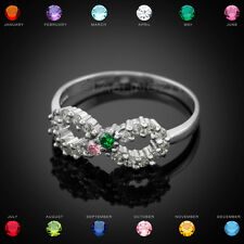 Sterling Silver Infinity Dual Birthstone CZ Ring Size 7
