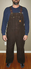 CARHARTT Bib Overalls Quilt-Lined Dark Brown R27 DKB-Zip to Knee Leg Opening NWT