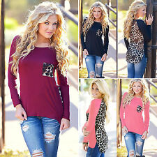Plus Size Womens Top Long Sleeve Spliced Blouse Ladies T-Shirt Leopard Print Tee
