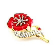 Red Enamel Crystaled Flower poppy Brooch+ Pouch