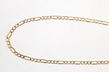"""14k Two Tone Gold 3.5-mm Figaro Chain Necklace - 18""""-22"""" inches"""