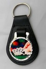 POKER CARDS LEATHER KEY FOB Keyring Gift Choice of Colours NEW