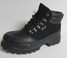 FILA WEATHERTEC BOY'S YOUTH KID'S  ANKLE BOOTS HIKING TRAIL BLACK LACE UP NEW