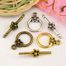10Sets Tibetan Silver,Gold,Bronze Flower Circle Connectors Toggle Clasps M1383