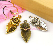 8Pcs Tibetan Silver,Antiqued Gold,Broze Flower Leaf Charms Pendants M1129