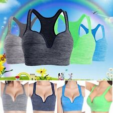 Women Seamless Fitness Yoga Padded Bras Workout Cami Tank Top Sports Racerback
