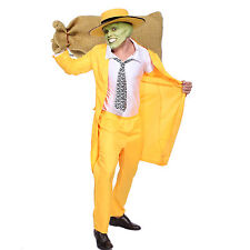 90S Yellow Gangster Zoot Suit Mobster The Mask Jim Carrey Costume Fancy Dress