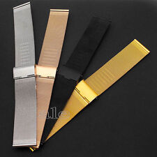 18/24 mm Milanese Stainless Steel Watch Mesh Band Strap Double Clasp Bracelet