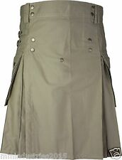 Active Men Khaki Utility Modern Kilt with Straps 100% Cotton Handmade