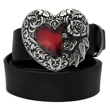 Fashion Red Peach Heart Pattern High Quality Zinc Metal Buckle Leather wome Belt