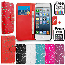 Glitter BLING Diamond LEATHER FLIP WALLET Stand COVER FOR Apple iPhone 4/4S