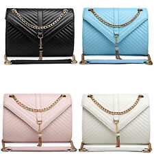 Women Cross Body Shoulder Bags Quilted Faux Leather Chain Bag Satchel