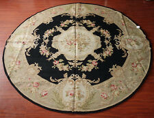 Beautiful Beige Black Aubusson Design Wool Hand Woven Needlepoint Area Rug