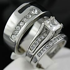 HOT New 3pcs His & Hers Wedding Engagement Set Rings Stainless Steel 7 8 9 11