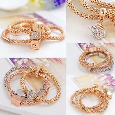 3PCS Heart Crystal Charms Elastic Bracelet Bangle Gold Silver Women Jewelry Gift