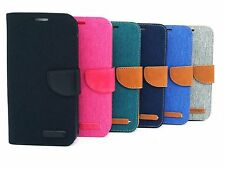 For iPhone Samsung Card Holder Wallet Denim Canvas & Leather Case Magnetic Cover
