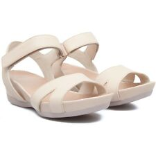 Camper Womens Leather Sandals Micro Wedge Sandals Beige