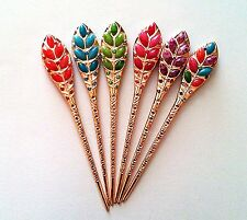 Wheat Vector/Leaf Design Hair sticks in Jade Stone Accent