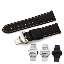 24mm Genuine Fabric Canvas Leather watch Band Deployant Clasp Strap For Panerai