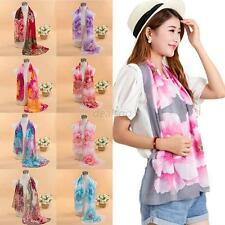 Womens Long Scarf Soft Silk Chiffon Wrap Shawl Stole Shawl Scarves Colorful