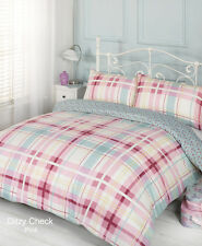 Ditsy Check Pink Duvet Bedding Set - Single-Double-King Size-Super King Size