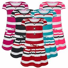 GIRLS BUTTON TOP STRIPY POCKET DRESS KIDS PARTY CASUAL STRETCHY SIZE 1-12 YEARS